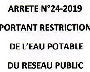 RESTRICTION DE L'EAU POTABLE